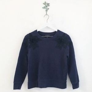 J. Crew Sweatshirt With Floral Appliqué Blue Small